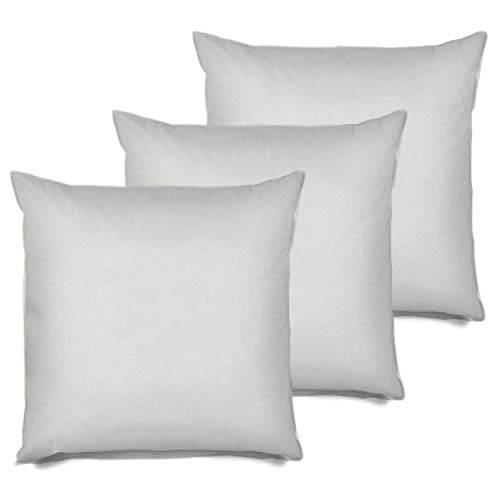 3 Euro Inserts - MSD 3 Pack Pillow Insert 28x28 Hypoallergenic Square Form Sham Stuffer Standard White Polyester Decorative Euro Throw Pillow Inserts for Sofa Bed - Made in USA (Set of 3) - Machine Washable and Dry
