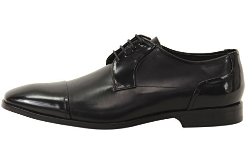 HUGO by Hugo Boss Men's Square Business Matte Leather Lace up Derby Work Shoe, Black, 11 N US by Hugo Boss (Image #2)