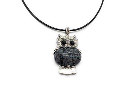 xinpeng Lucky Owl Necklace Healing Natural Stone Charm Pendant for Women Men Jewelry Spiritual Energy Gemstone 18 inches (Snowflake Obsidian)