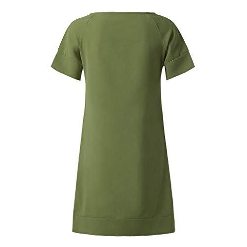 Partito Abiti Colore Solido Rotondo Al Da Donna Vicgrey A Elegante Donne Ginocchio Di Tubino Moda Verde Vestiti Mini Collo Estivo Vestito Abito Jc5FK3luT1