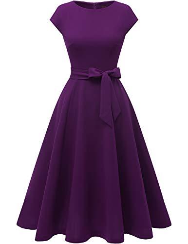 DRESSTELLS Women's Vintage Tea Dress Prom Swing Cocktail Party Dress with Cap-Sleeves Grape 3XL