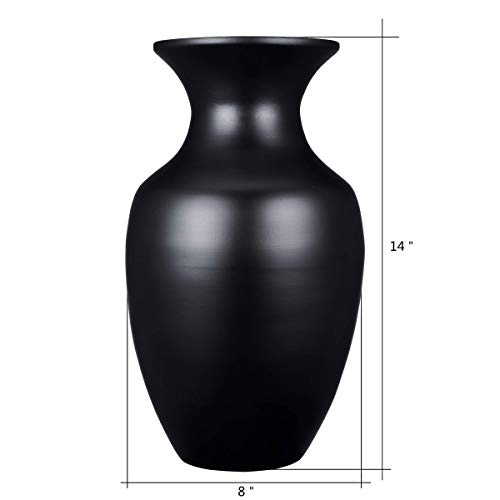 """Villacera Handcrafted 14"""" Tall Black Glazed Urn Vase for Silk Plants, Flowers, Filler Decor   Sustainable Bamboo"""