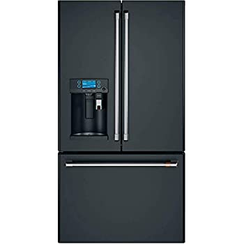 Ge Cafe CYE22UP3MD1 Matte Collection Series 36 Inch Counter Depth French Door Refrigerator in Matte Black