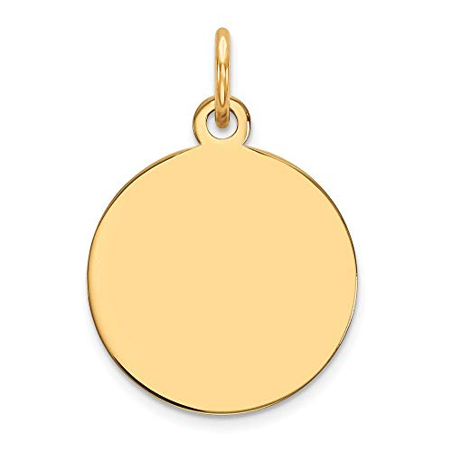 10k Yellow Gold .013 Gauge Circular Engravable Disc Pendant Charm Necklace Round Plain Fine Jewelry Gifts For Women For Her