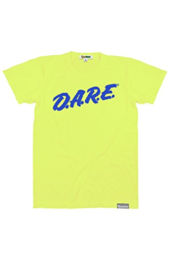 80s Neon Clothing (Men's Neon Yellow DARE Shirt - Retro Neon 80's Clothing Tee (Large))