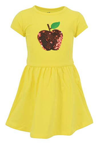 Unique Baby Girls Back to School Sequins Apple Dress Outfit (6) Yellow