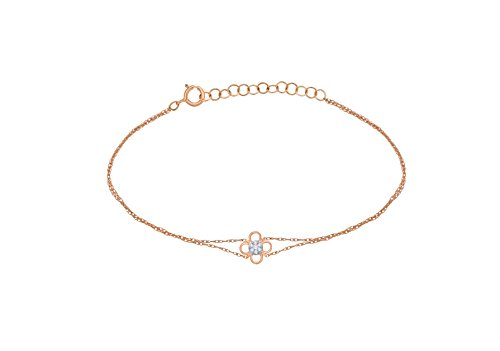 Diamond Accent Clover Pendant - IGI Certified 10k Rose Gold Diamond Accent Multi Strand Clover Charm Extendable Bracelet (0.05 Cttw)