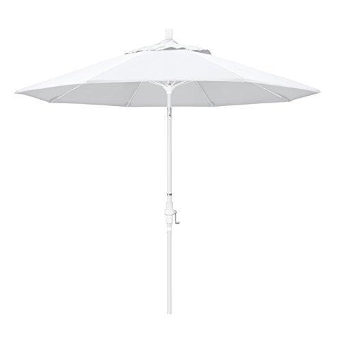 California Umbrella 9' Round Aluminum Pole Fiberglass Rib Market Umbrella, Crank Lift, Collar Tilt, White Pole, White Olefin ()