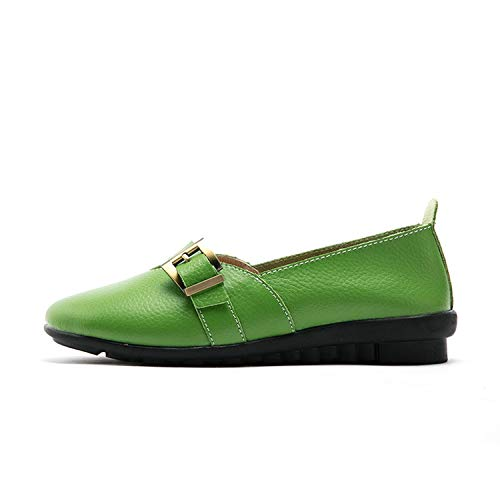Women Female Mother Ladies Genuine Leather Shoes Flats Sandals Summer Beach Buckle Strap PEK-1867,Green,39 (Newcastle Counter)