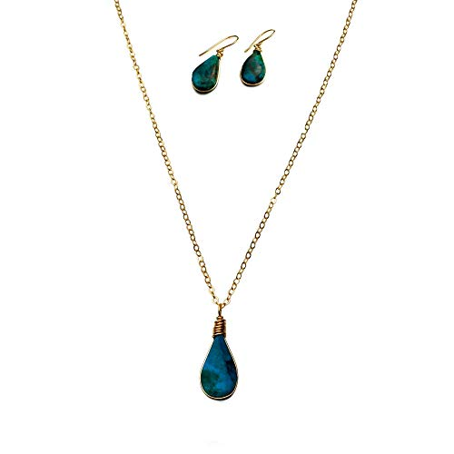 RUMI SUMAQ Chrysocolla Stone Jewelry Set for Women: Dainty Gold Fill Pendant Necklace and Earrings Mother's Day Jewelry ()