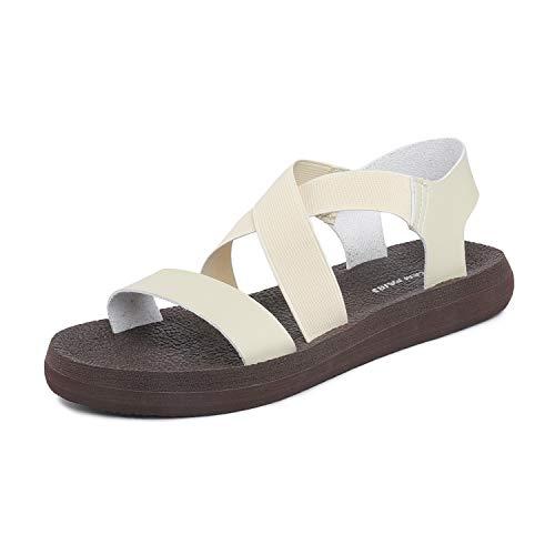 DREAM PAIRS Women's Open Toe Elastic Flat Sandals Size 9 M US Beige from DREAM PAIRS