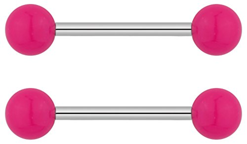 Forbidden Body Jewelry 14g 16mm (5/8 Inch) Hypoallergenic Titanium Pink Double Ball Nipple & Tongue Ring Barbells