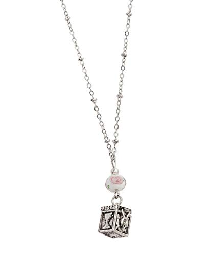 Girls First Communion Silver Toned Prayer Box Pendant Necklace with Flower Glass Bead, 16 Inch