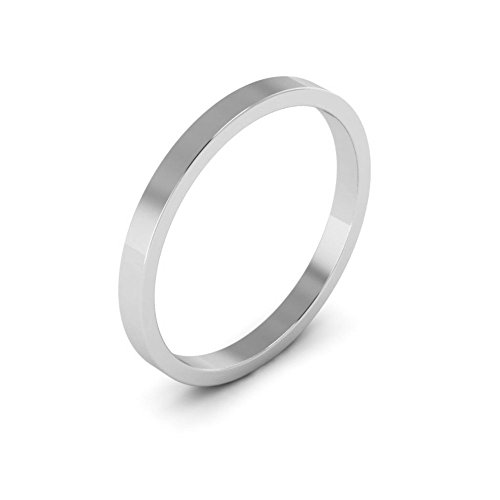 14k White Gold Flat Band (14K White Gold men's and women's plain wedding bands 2mm flat, 6.5)