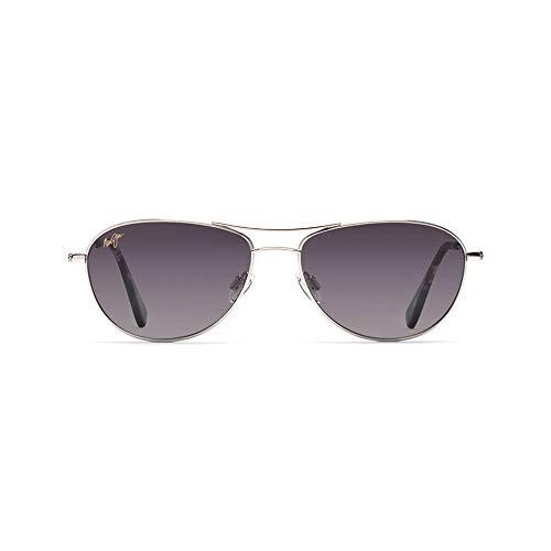 (Maui Jim Baby Beach  Aviator Sunglasses, Silver Frame/Neutral Grey Lens, One Size)