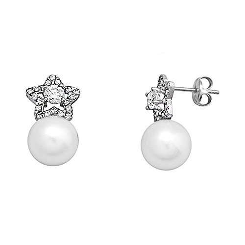 Boucled'oreille star perle 8mm zircone cubique 18k or blanc. [AA6037]