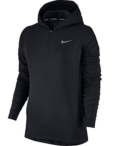 Nike Women's Dri-Fit Element Running Hoodie, Black/Reflective Silver, XS