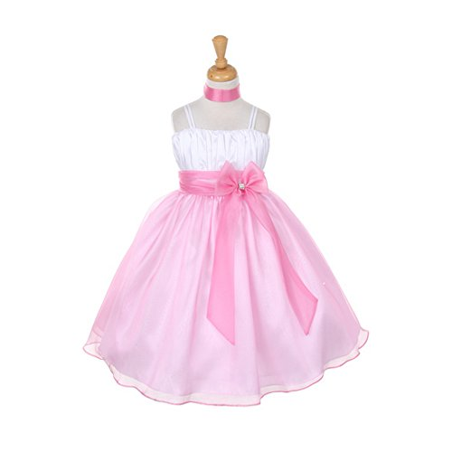Tafetta Bow (Big Girls Pink Taffeta Crystal Organza Bow Flower Girl Easter Dress 8)