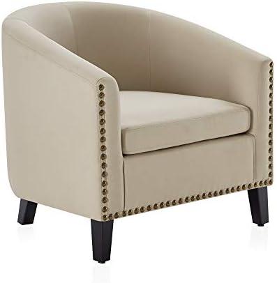 BELLEZE Modern Tub Barrel Accent Chair Upholstered Linen