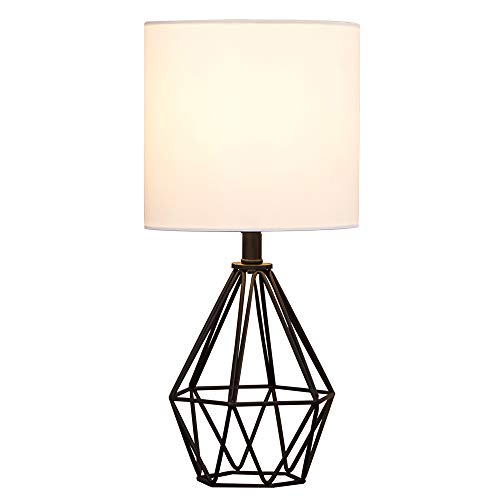 COTULIN Modern Designs Bedside Black Hollowded Out Base Bedroom Living Room Study Room Table Lamp, Table Lighting with TC Fabric Shade Desk Lamp