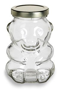 (North Mountain Supply 9 Ounce Glass Bear Jar - For Honey, Jam, Favors - With Gold Safety Button)