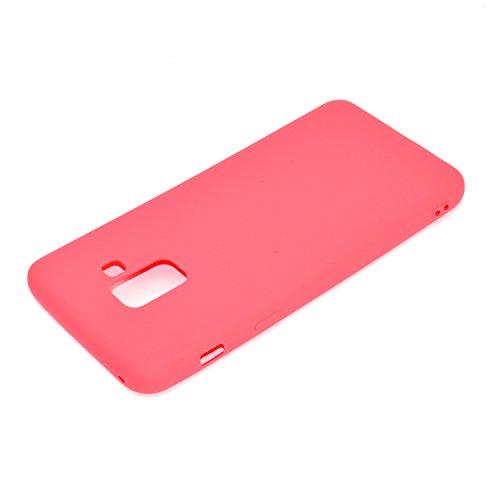 Funda para Samsung Galaxy A8 2018 (SM-A530) , IJIA Puro Rojo TPU Silicona Suave Cover Tapa Caso Parachoques Carcasa Cubierta Case para Samsung Galaxy A8 2018 (5.6) Red