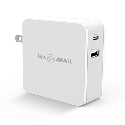 B&W Mall USB C with Power Delivery 60W Wall Charger PD 60W for HTC 10, Nexus 5X/6P, LG G5, Pixel C, MacBook 2015/2016, Matebook, HP Spectre, iPhone, and More ()