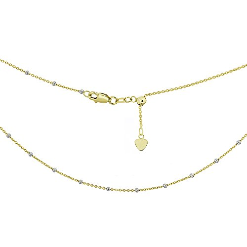 (Ritastephens 14k Yellow White Gold Two Tone Saturn Beaded Station Adjustable Choker Necklace)