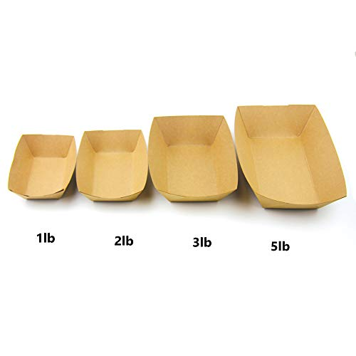 [250 Pack] 5 lb Heavy Duty Disposable Kraft Brown Paper Food Trays Grease Resistant Fast Food Paperboard Boat Basket for Parties Fairs Picnics Carnivals, Holds Tacos Nachos Fries Hot Corn Dogs by Fit Meal Prep (Image #3)