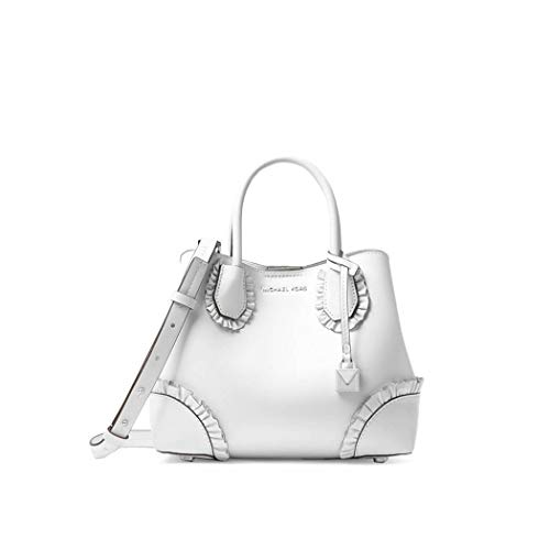 (Women's Accessories Michael Kors Mercer Gallery White Ruffled Small Satchel Spring Summer 2018)