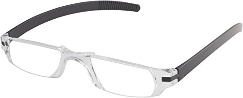 Fisherman Eyewear Slim Vision Rimless Reading Glasses with Temples (+2.00), Shiny Black