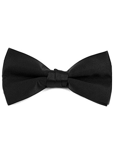 Men's Black Pre-tied Clip On Bow Tie - Formal Tuxedo Solid Color