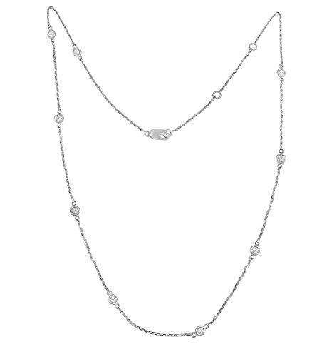 (Samaya Jewels 1/2ct Bezel Set Diamond By The Yard 14k White/Yellow Gold Station Necklace 16