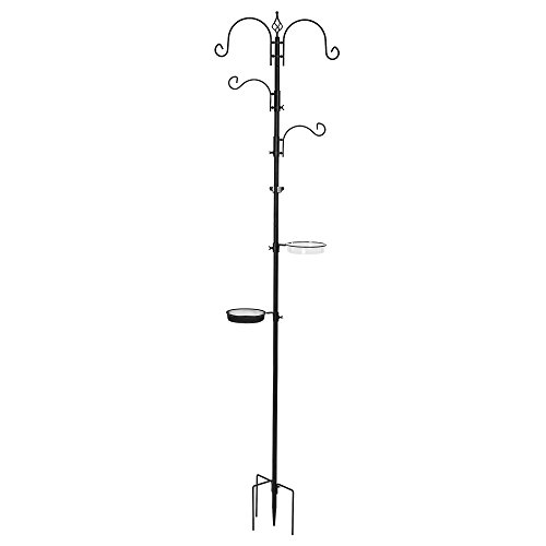 Best Choice Products Deluxe Garden Bird Feeding Station Kit Stand Multi Tier w/Bird Bath Feeder - Black