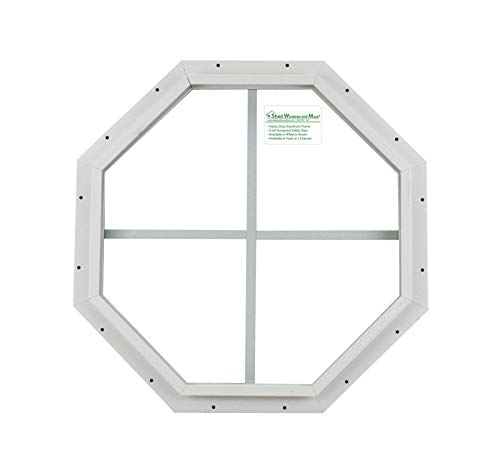 18 Octagon Shed Window White J-Channel Mount, Playhouse Window