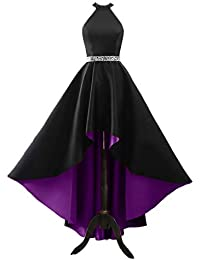 Halter Prom Dresses Long Beaded Evening Party Gowns High Low Formal Dresses for Juniors
