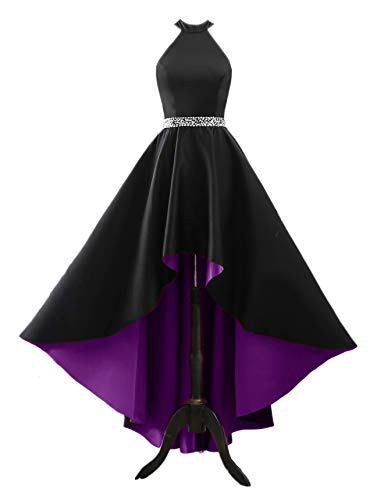 - Changuan Women's Halter High Low Satin Prom Dress Asymmetrical Formal Gown Lace up Back Black/Purple-14