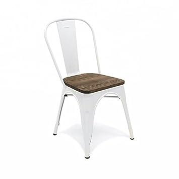 city home chaise en acier peint et en bois inspire par la marque tolix et - Chaise Acier