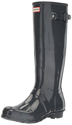 Hunter Damen Original Tall Regen Boot, Schwarz Glanz, 8 B (M) US Dunkler Schiefer