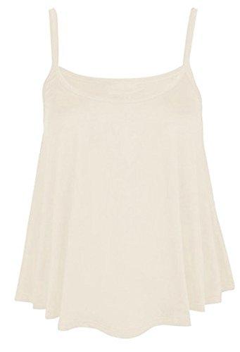 Hot Hanger Womens Sleeveless Cami Tank Top Camisole Vest UK 8-28(20-22 (2XL), Cream)