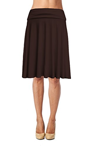 - Womens Basic Soft Stretch Mid Midi Knee Length Flare Flowy Skirt Made in USA-Brown,Small