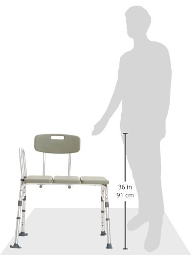 Plastic Tub Transfer Bench with Adjustable Backrest, Gray by Drive Medical (Image #4)