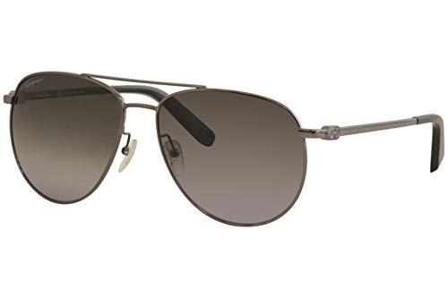(Salvatore Ferragamo Sunglasses SF157S 069 Shiny Ruthenium Aviator Unisex)