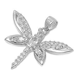 Dragonfly Glitzs Jewels 925 Sterling Silver Cubic Zirconia CZ Necklace Pendant Clear