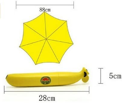Generic Novelty Outdoor Fashion Gift Banana Shape Folding Sun And Rain Umbrella Yellow