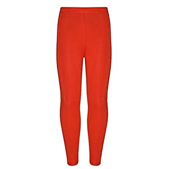 Girls Kids Children Plain Jersey Soft Elastic Waist Legging Pants Age 2-13 Years (Age 11-12 Years, Red)