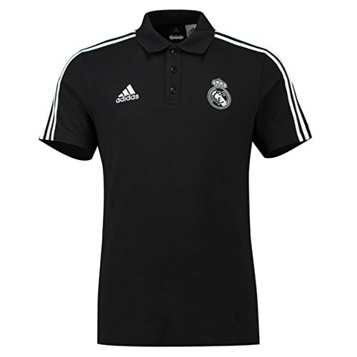 adidas 2018-2019 Real Madrid 3S Polo Football Soccer T-Shirt Jersey (Black) -