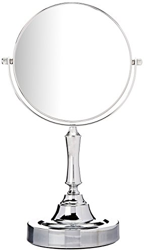 (Sagler Vanity Mirror Chrome 6-inch Tabletop Two-Sided Swivel with 10x Magnification, makeup mirror 11-inch Height, Chrome Finish)