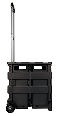 Office Depot Mobile Folding Cart with Lid, 16in H x 18in W x 15in D, Black,  50801