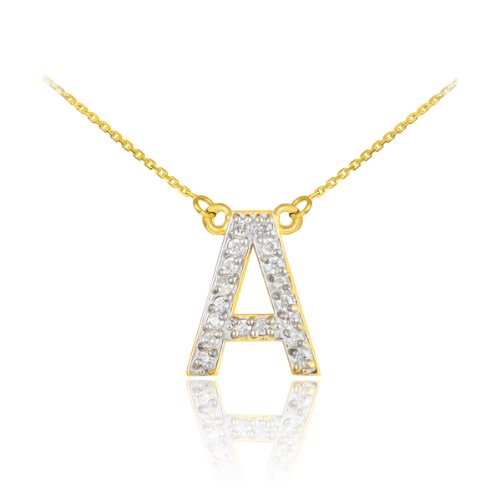 14k Yellow Gold Diamond Letter A Initial Pendant Necklace, 20